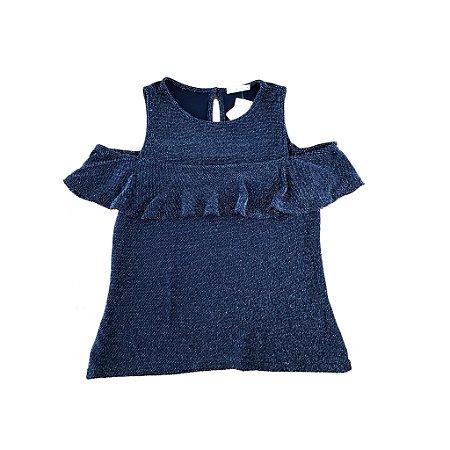 Blusa COSTUME Azul Marinho com Brilho