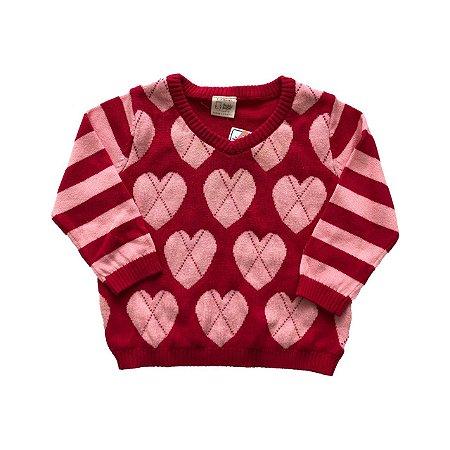 Malha Teddy Bom Vermelha e Rosa Corações