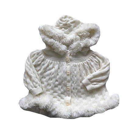 Casaquinho Branco Tricot com Capuz