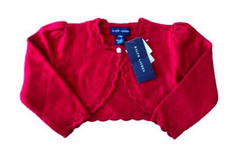 Casaquinho Ralph Lauren Infantil Vermelho em Tricô (Etiqueta)
