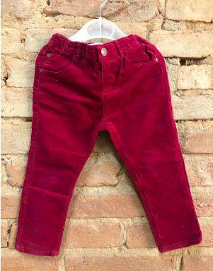 Calça Zara Infantil Vermelha Veludo
