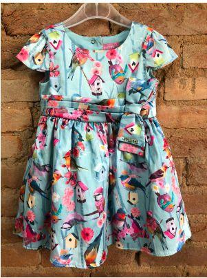 Vestido Momi Infantil Azul Claro com Passarinhos