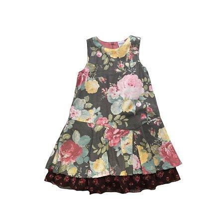 Vestido Tyrol Infantil Escuro Florido