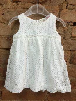 Vestido Zara Infantil Off White em Renda