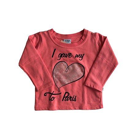 Moletom Rovitex Infantil Rosa com Coração com Brilho