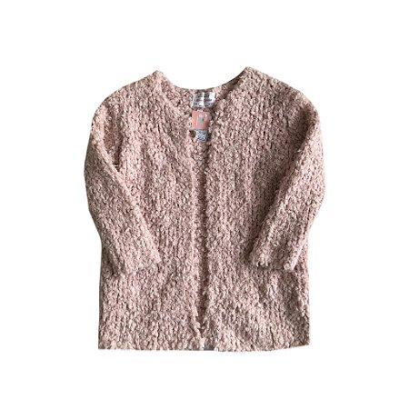 Casaco Zara Girls Infantil Aberto de Lã Rosa