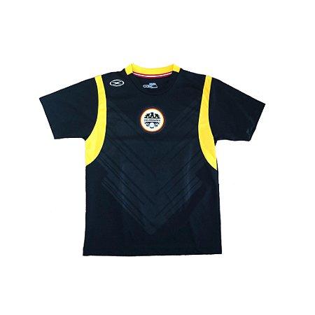 Camiseta Dry Fit Selecção Alemã Infantil Preta com Logo da Seleção