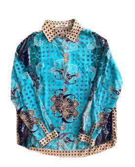 Camisa Carmila Feminina Estampada em Azul