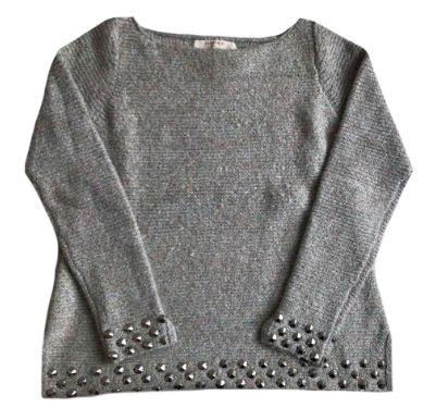 Malha de Lã Zara Feminina Cinza com Lurex e Apliques