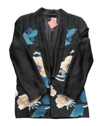 Quimono Zara Feminino Preto com Flores Azuis