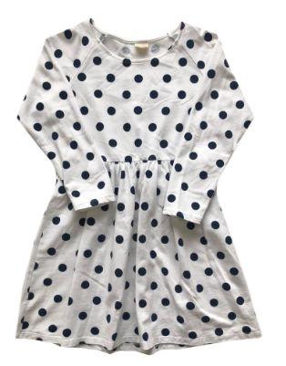 Vestido Moletom Zara Infantil Branco com Bolinhas Azul Marinho