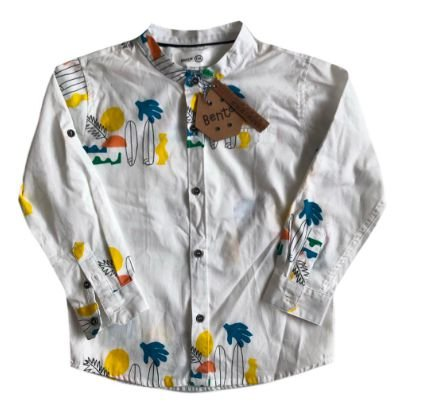 Camisa Bento para C&A Branca Estampada Pranchas Surf (Etiqueta)
