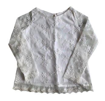 Blusa Zara Infantil Branca em Renda