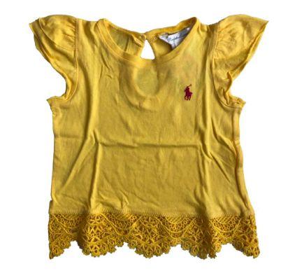 Camiseta RALPH LAUREN Infantil Amarela com Renda