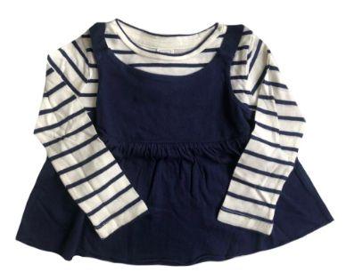 Camiseta baby GAP Azul e Branca Listrada Manga Longa