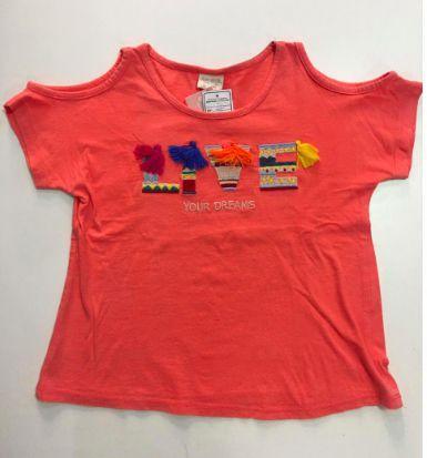 Camiseta ZARA Infantil Laranja Live Bordado