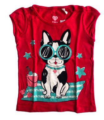 Camiseta Baby Club Vermelha Cachorro com Óculos