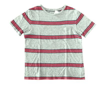 Camiseta GAP Infantil Cinza com Listras Vermelhas