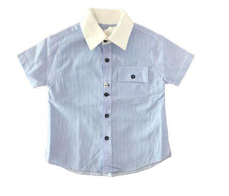 Camisa Infantil Azul com Listras Brancas