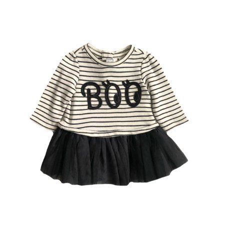 Vestido baby GAP Preto e Branco Listrado Manga Longa BOO