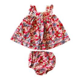 Vestido RALPH LAUREN Infantil com Calcinha Vermelho Florido