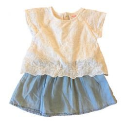 Vestido ZARA Infantil Branco e Jeans
