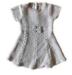 Vestido Infantil Cinza Tricot