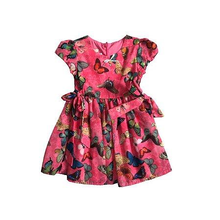 Vestido 1 + 1 Rosa com Borboletas Festa