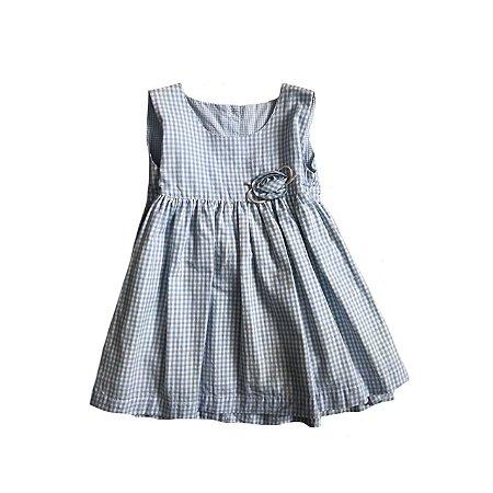 Vestido Kindy Infantil Azul e Branco Xadrez