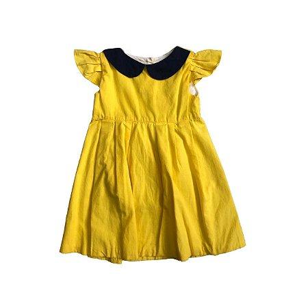 Vestido AURORA TEODORA Amarelo com Gola Azul