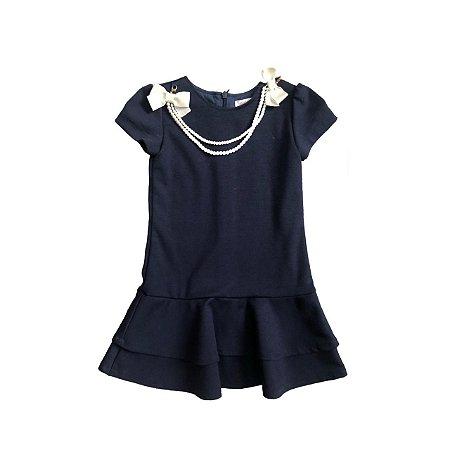 Vestido PINNI Infantil Azul Marinho com Pérolas