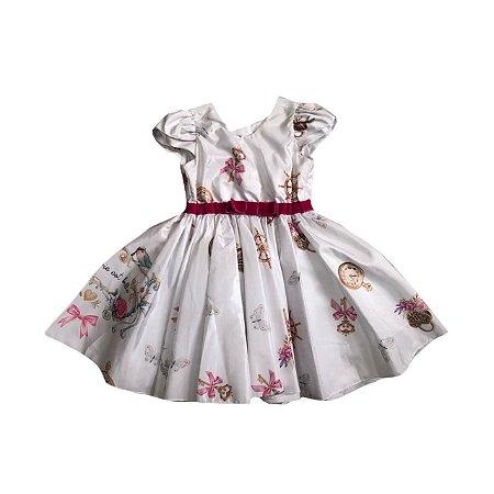 Vestido VIA FLORA Branco de Festa com Cinto de Veludo Rosa