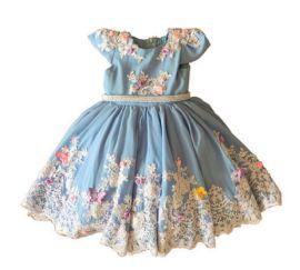 Vestido Infantil Azul de Renda  Maravilhoso