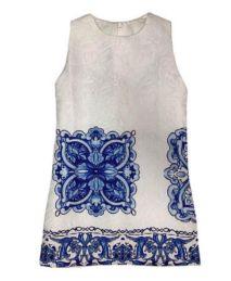 Vestido Infantil Branco e Azul