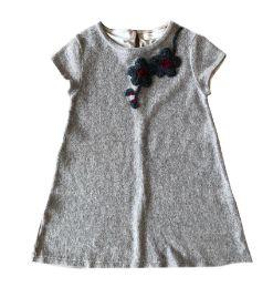 Vestido ZARA Infantil Cinza de Lã com Bordado