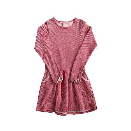 Vestido MILON Infantil Vermelho e Branco Manga Longa