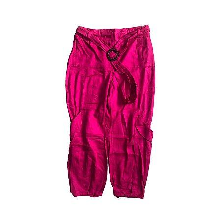 Calça CRIS BARROS Pink Cos Alto com Cinto