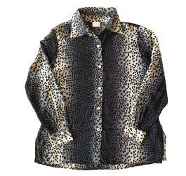 Camisa FUCSIA Cinza e Preta Animal Print Transparente