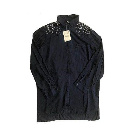 Camisa ZARA Azul Marinho com Apliques em Ombro (com Etiqueta)