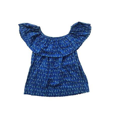 Blusa RENATA TENCA Azul Ombro a Ombro com Bordado Verde