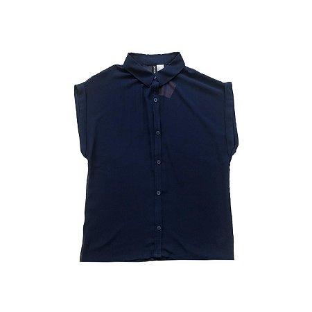 Camisa H&M Azul Marinho Transparente Cavada