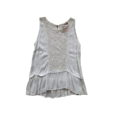 Blusa COSTUME Off White em Crepe com Renda