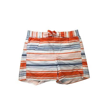 Shorts GYMBOREE Branco Listrado em Laranja e Azul