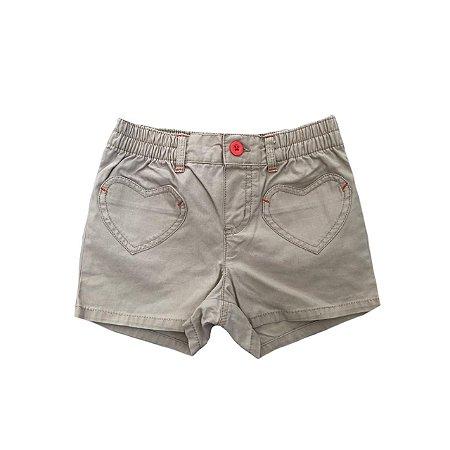 Shorts CARTER'S Bege em Sarja com Botão Laranja