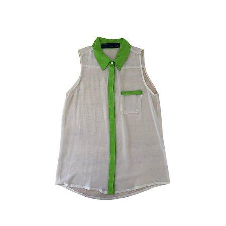 Camisa Regata Zara Feminina Bege e Limão