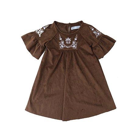 Vestido ZARA Infantil Marrom em Chamois