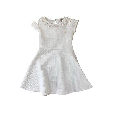 Vestido MILON Branco com Aplique de Flores na Gola