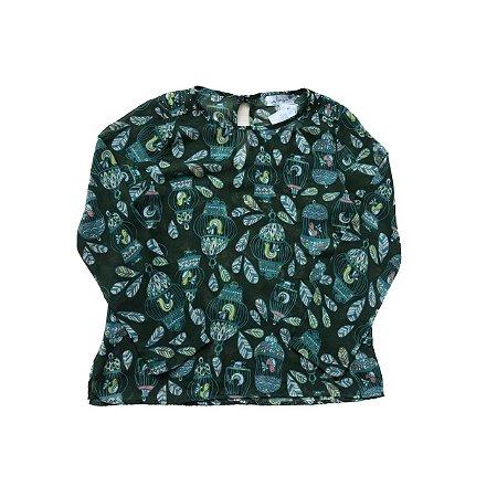 Camisa GLORY  Verde Passarinhos Transparente