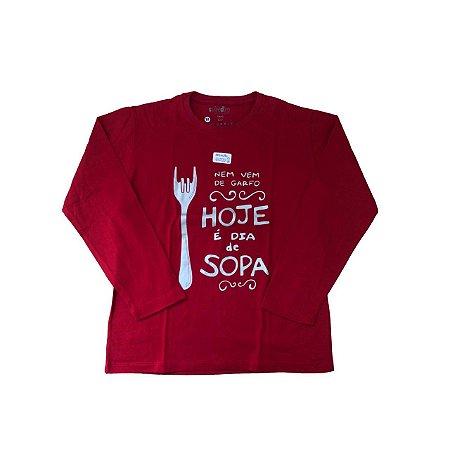 Camiseta SIRODIRO Vermelha Hoje é Dia de Sopa (Manga Longa)