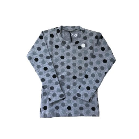 Camiseta SIRODIRO Cinza com Bolinhas Manga Longa